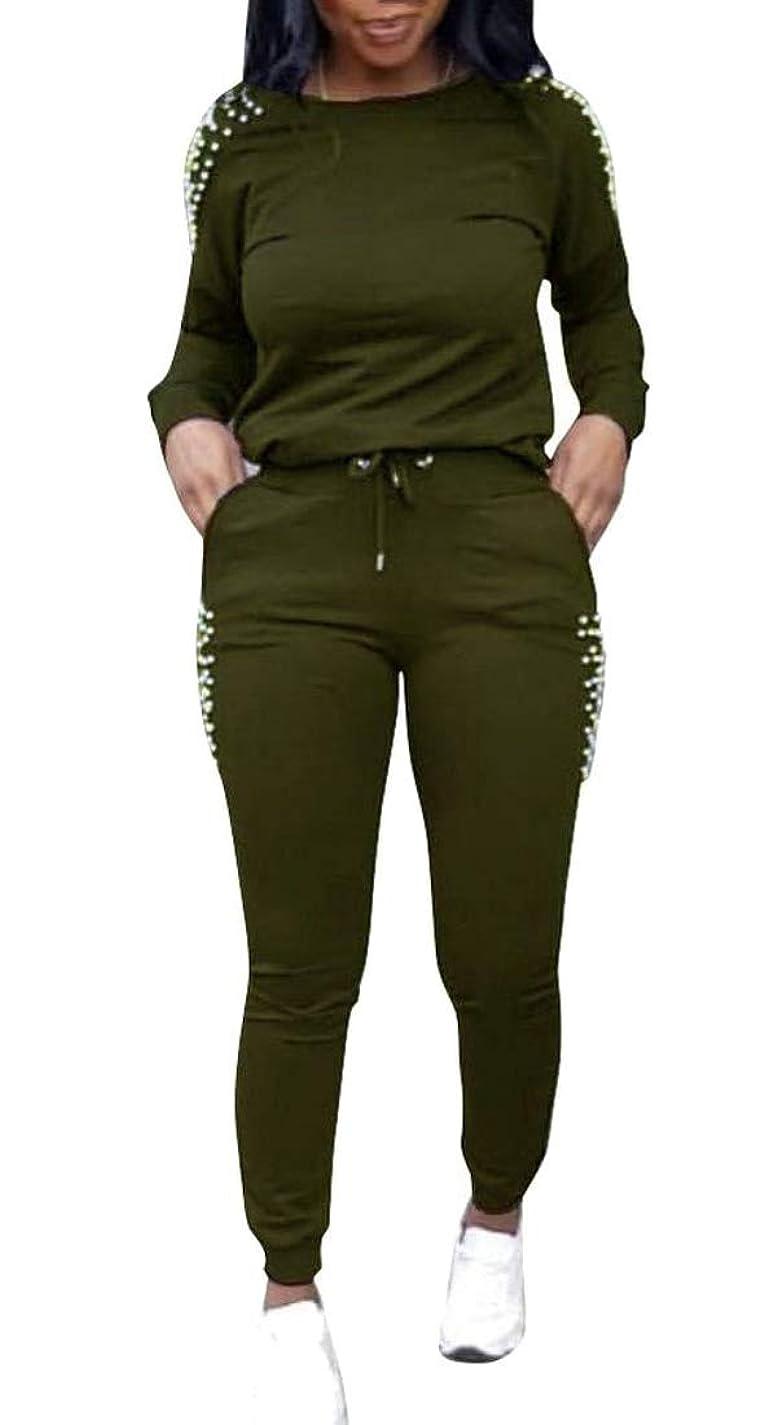 出力エントリ直径女性の2ピースアウトフィットロングスリーブTシャツとロングパンツセットスウェットシャツ