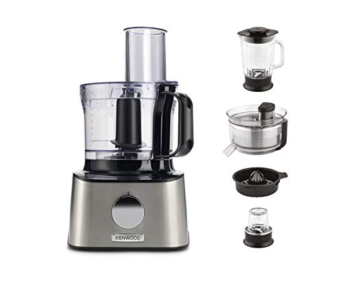 Kenwood Multipro Compact FDM307SS Kompakt-Küchenmaschine, leistungsstarkes Küchengerät mit 2,1 l Arbeitsbehälter, inkl. Schneebesen, Entsafter und Gewürzmühle, Metall-Gehäuse, 800 W, silber
