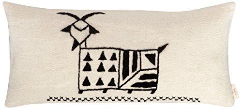 Muna Home Goat Fodera per Cuscino, Lana, Bianco/Nero, 60x30x1 cm
