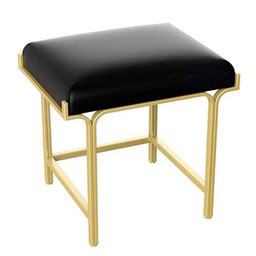 N/Z Living Equipment Vanity Hocker Prägnante Moderne Eisenkunst Lederoberfläche Wohnzimmer Sofa Bank Piano Hocker Schuhbank am Eingang (18,9x15x18,1 Zoll)