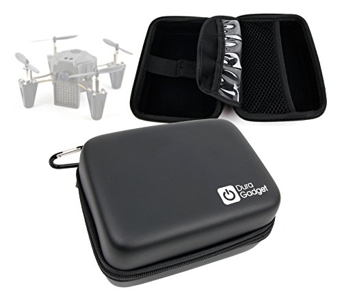 DURAGADGET Exclusive Hard Shell EVA Box Case with Carabiner Clip & Twin Zips in Black - Compatible with The Flyzano Zano Drone
