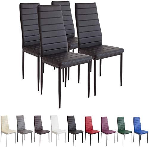 2551MILANO Set de 4 sillas de Comedor, Negro