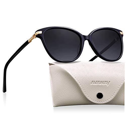 AVAWAY Vintage Donna Occhiali da Sole Polarizzati Oversize UV400 Protezione Lente Telaio in Acetato, A1