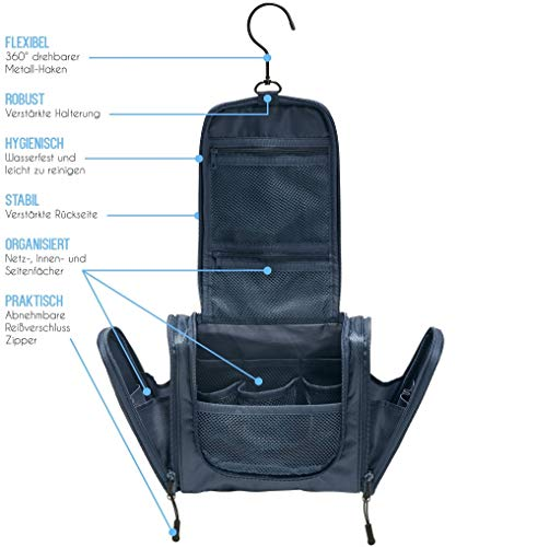 TRABONA Kulturbeutel zum Aufhängen für Herren - Waschtasche für Männer Premium-Qualität - Reise Kulturtasche mit verbessertem Konzept [2021]