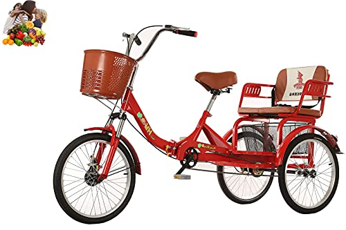 FGVDJ Biciclette da Donna Pieghevoli per Triciclo per Adulti Le forcelle ammortizzanti a 3 Ruote da 20 '' i sedili allargati Possono ospitare Due Bambini Telaio in Acciaio
