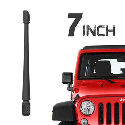 RYDONAIR Antenna Compatible with 2007-2020 Jeep Wrangler JK JKU JL JLU Rubicon Sahara Gladiator, 7 inches Flexible Rubber Antenna Designed for Optimized FM/AM Reception