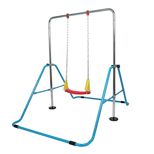 Z ZELUS Kids Home Gym Jungle Gym Children Monkey Bar Gymnastics Kip Bar Athletic Adjustable Balance Bar Junior Training Gymnastic & Swing Set