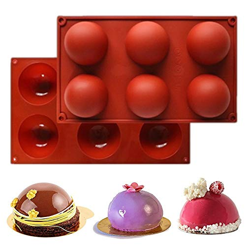 6 Hole Silicone Molds for Baking、Chocolate、Cake、Jelly、Handmade Soap DIY Cake Molds for Baking、 Food-Grade Silicone、 Non-Stick、 BPA-Free Cake Pan (2)