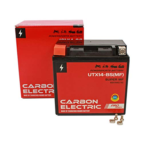 Carbon Electric Gel Batterie YTX14-BS 12V 12Ah UTX14-BS (Wartungsfrei/Versiegelt) Akkumulator Motorrad Roller Motorradbatterie Rollerbatterie