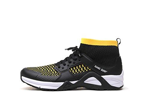 XIANG GUAN Best Running Shoes for Men Walking Hiking Sports Basketball Long Distance Trip Mesh Upper Black Gray Comfortable Sneakers Shoes (11 US, Blackyellow)