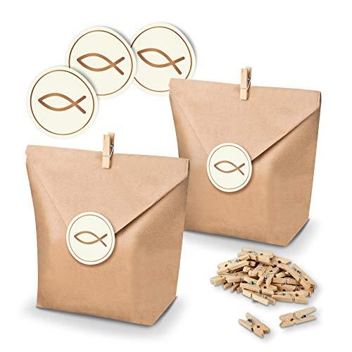 itenga Set Fisch 24x Geschenktüten Papier Braun inkl Aufkleber Sticker für Gastgeschenke Taufe Kommunion Konfirmation (Kupfer)