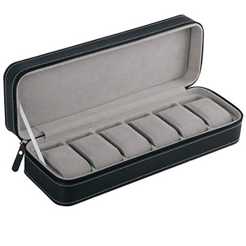 Lcjtaifu Cestello Portaoggetti 6 Slot Watch Box Portable Travel Zipper Case Collector Storage Jewelry Box (Nero)
