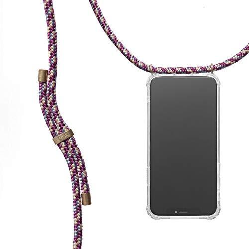 KNOK Handykette Kompatibel mit Apple iPhone 11 Pro - Silikon Hülle mit Band - Handyhülle für Smartphone zum Umhängen - Transparent Case mit Schnur - Schutzhülle mit Kordel in Bordeaux