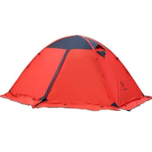TRIWONDER Tienda de mochilero de 2 Personas Que acampa de la estación 4 con Las Puertas Dobles del Borde de la Falda Capa Doble Impermeable Ligera para Acampar yendo de excursión (Rojo)