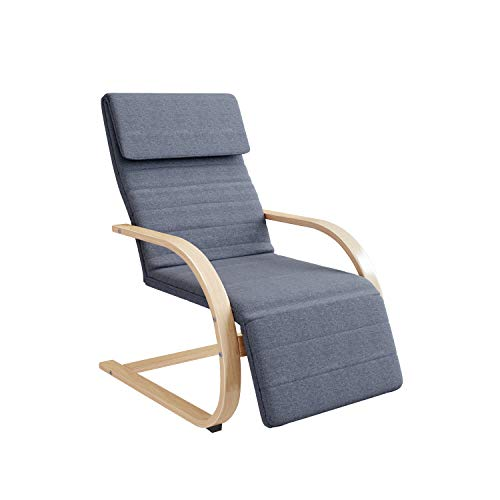 HOMECHO Relaxstuhl mit Armlehnen aus Birkenholz Relaxsessel 3-stufig verstellbare Fußstütze, Ruhesessel Freischwinger Stuhl bis 150 kg belastbar, Wohnzimmer, Schlafzimmer, dunkelgrau