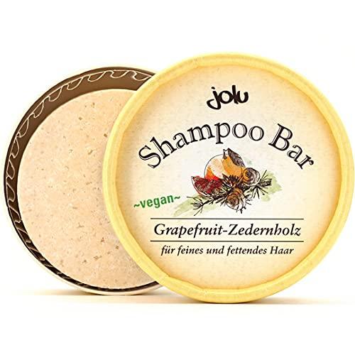 Jolu - Shampoo Bar Grapefruit-Zedernholz – Festes Haarschampoo für feines und fettendes Haar