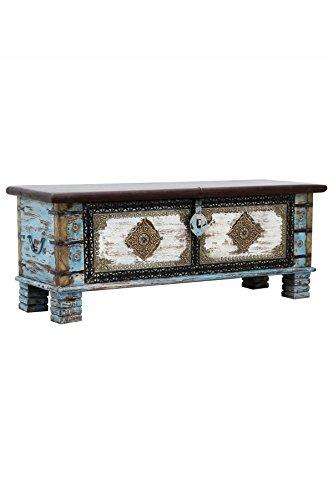 Orientalische Truhe Kiste aus Holz Cemile - 116cm | Vintage Sitzbank mit Aufbewahrung für den Flur | Aufbewahrungsbox mit Deckel im Bad | Betttruhe als Kissenbox oder Deko im Schlafzimmer - 2