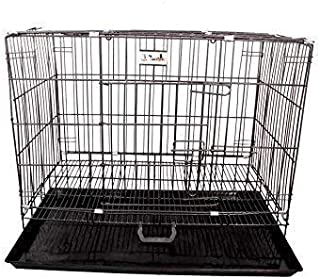 pet zone India Black Cage/Crate/Kennel with Removable Tray for Dogs/Cats, (24inch)