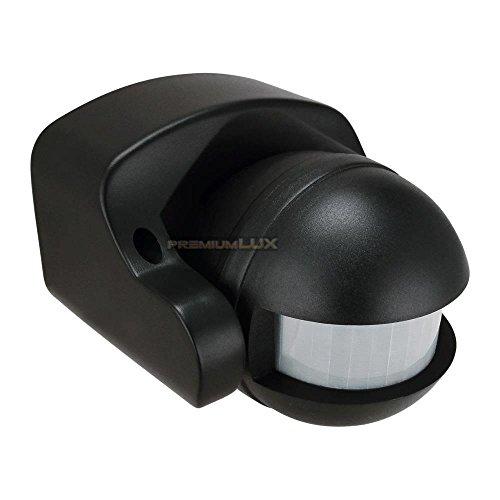 PREMIUMLUX Motion Sensor, PIR Bewegungsmelder 180°, Bewegungsmelder für LED schwarz IP44, vertikal einstellbar, energieeffizient (OVAL, SCHWARZ)