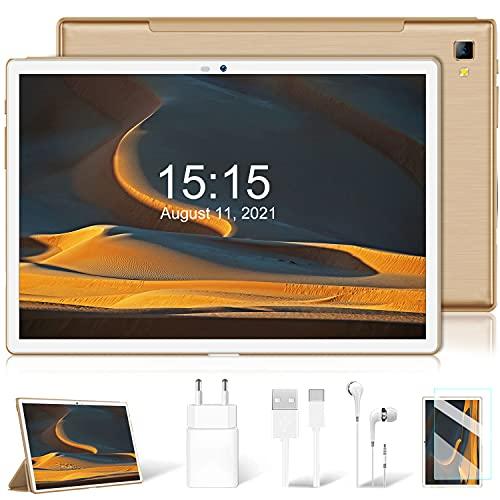 4G LTE Tablet 10.1 Pollici, Android 9.0 Pie Octa-Core 2.3GHz 4GB + 64GB Espandibile 128GB Type-C 8000mAh Dual SIM Bluetooth GPS Supporta NETFILX (oro)