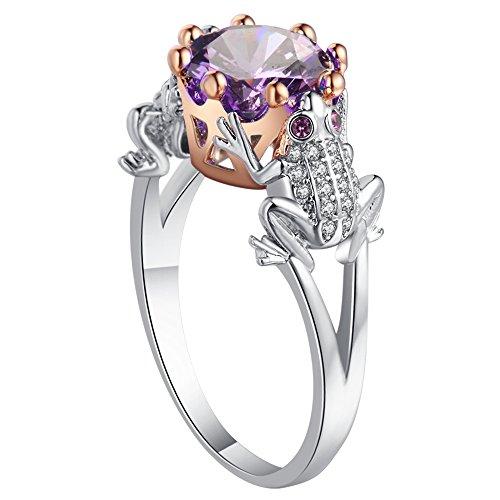 Bigood 925 Sterling Silver Plated Women Frog Purple CZ Wedding Rings Gifts 7