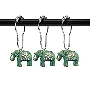 ZILucky Set of 12 Elephant Shower Curtain Hooks Decorative Home Bathroom Stainless Steel Rustproof Full Body with Filigree Swirls Shower Curtain Rings Decor Accessories (Patina)