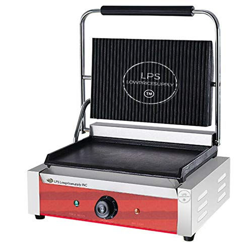 Best Prices! Commercial Panini Sandwich Grill with Grooved Top and Smooth Bottom Plates By LPS Lowpr...