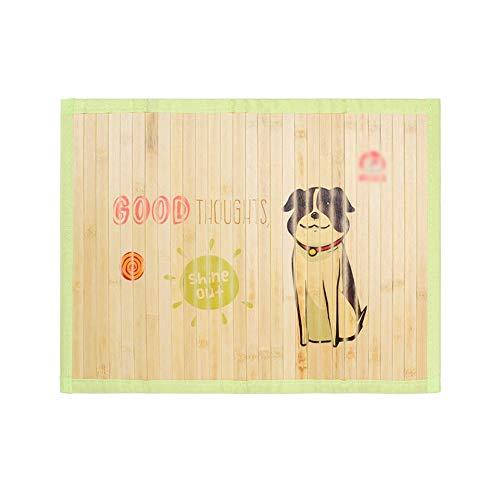 Huisdier Koeling Slaapmat, Ademend Koud Bed Bamboe Mat Duurzame Hond Kat Slaapkussen Zomer Medium Huisdier Warmte Afvoer Matras, Wasbaar, 65x50cm, Groen