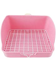 POPETPOP Conejo Toliet Inodoro para mascotas con baño de mascotas para interior, a prueba de pulverización, para perro, gato, conejo, conejo, conejito y cobaya, color rosa