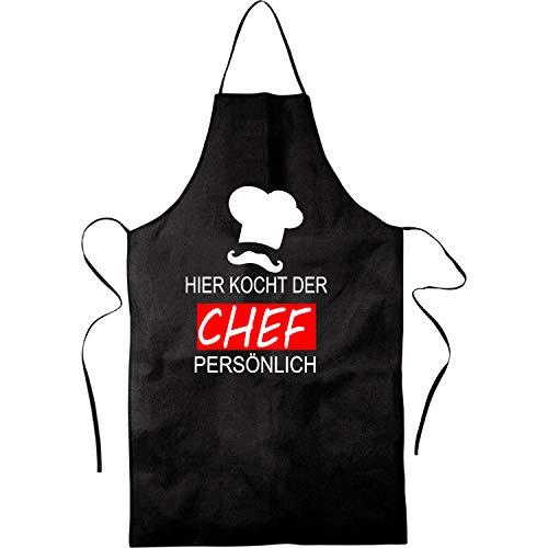 Hier Kocht der Chef persönlich |Grill, BBQ | Küchenchef, Koch | Kochschürze, Latzschürze, Küchenschürze Grillschürze, Partyschürze | Geschnek, Geburtstag, Schurz | Schwarz, Rot (Schwarz)