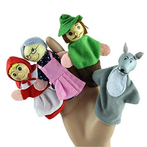 Juguete Animal de la Historieta Suave para la Escuela, Lugar de Entretenimiento, marioneta del Dedo de la Caperucita Roja