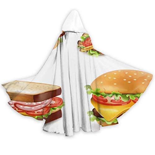 N\A Lieben Sie den mit Kapuze Mantel 59inch der Schnellimbiss-geschmackvollen Hamburger-Mantel-Hauben-Männer für Weihnachtshalloween-Cosplay-Kostüme