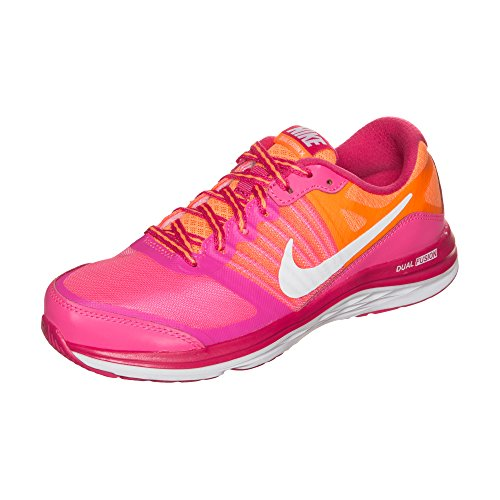 Nike Dual Fusion X GS Girls Running Shoes Pink White Brght Ctrs Wd Pn Size 4Y