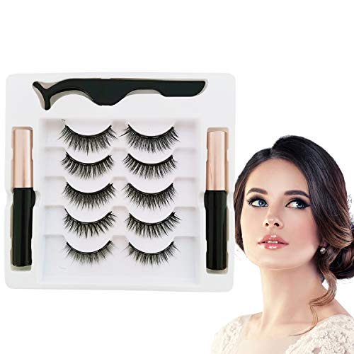Evepoly 5 Pairs Magnetic Eyelashes and Magnetic Eyeliner Kit, 5 Pairs Reusable Natural Look Magnetic Eyelashes with Eyeliner, Upgraded 3D No Glue Magnetic lashes Kit With Tweezers Inside