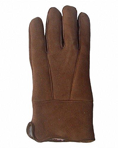 Damen Velourleder Lammfell Fingerhandschuhe aus Fellstücken hellbraun, Damen Fell Handschuhe, Größe 7