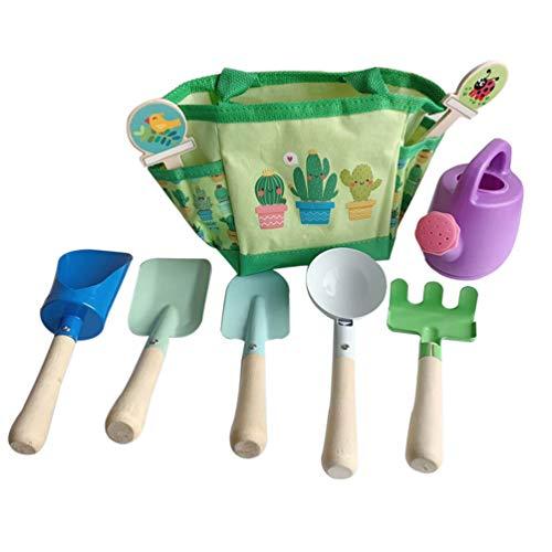Toddmomy 7 Unids / Set Juego de Herramientas de Jardín para Niños Herramientas de Jardinería de Madera de Juguete Pala Rastrillo Pala Olla de Agua con Lona Bolsa de Asas de Almacenamiento