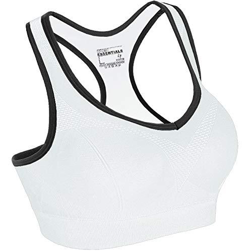 FITTIN Racerback Sports Bras - Padded Seamless for Yoga Workout Gym Fitness White Plus 1X
