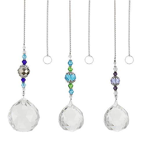 UBERMing Prisma de Bola de Cristal 3 Piezas Atrapasoles Cristal de Ventana Colgante de Prisma de Cristal Transparente para Colgar en Casa Jardín Oficina