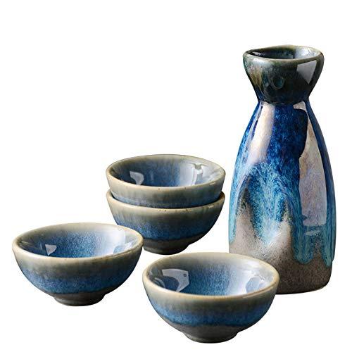 Tauzveok Vino Blanco japonés Copa de cerámica Sake Cup Flores Copas de cerámica Copas de Agua para Copa de Agua Caliente Shochu Cumpleaños Inauguración Conjunto de Regalo,Retro,5pc