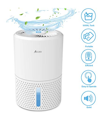 Acare Mini Dehumidifier for Closet, 2200 Cubic Feet (190 Sq ft), 32 Ounce Gun Safe Dehumidifier for Basement, Auto-Off, Quiet and Easy to Use