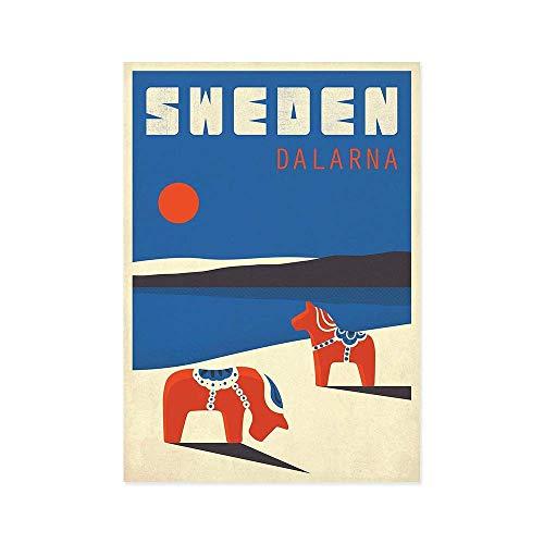 N / A Schweden Dalarna Retro Kunstdruck Dala Pferd Tierlandschaft Nordic Style Wand Leinwand Malerei Wohnkultur Skandinavien 40x60CM NO Frame