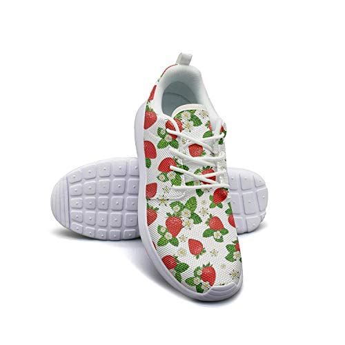 Strawberry Plants Fruit Floral Flower White Women Skateboard Casual Shoes Breathable Basketball Shoes