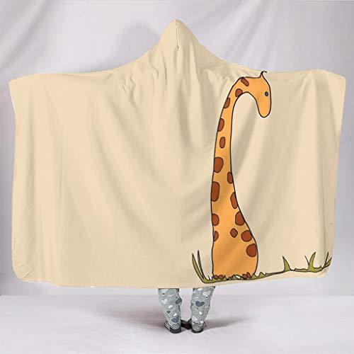 WellWellWell Manta con capucha para adultos y niños, diseño de jirafa, 150 x 200 cm, color blanco