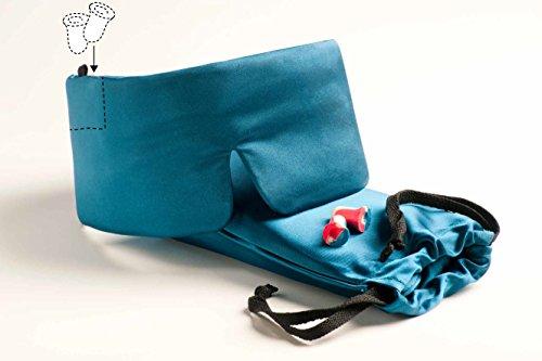 Schlafmaske SleepMaster Deluxe TM - Elegant und hochwertig aus Satin - Blau - Patentierte Schlafbrille & Augenmaske für Frauen und Männer