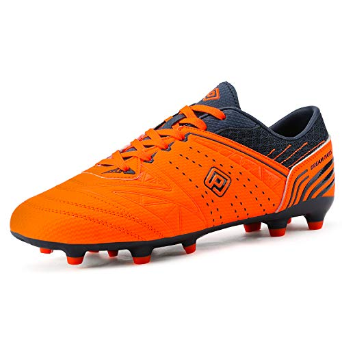 DREAM PAIRS 160859 Men's Sport Flexible Athletic Lace Up Light Weight Outdoor Cleats Football Soccer Shoes Orange Navy Size 8.5
