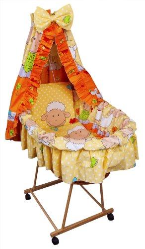 Amilian® 9tlg Textile Ausstattung für STUBENWAGEN Bollerwagen Himmel Matratze Baby Bettwäsche Schaf Orange