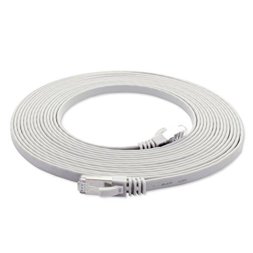 10m - weiß - 1 Stück Cat7 Flachkabel Netzwerkkabel Cat 7 Rohkabel Gigabit Lan (10Gbit/s) Flachbandkabel Verlegekabel Patchkabel Flach Slim Rj 45 Stecker Cat6a