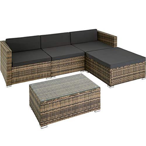 TecTake 800822 Polyrattan Sitzgruppe, 3 Sessel, 1 Hocker, 1 Tisch mit Glasplatte, inkl. Sitz- und Rückenkissen, mit rostfreien Edelstahlschrauben - Diverse Farben - (Natur)