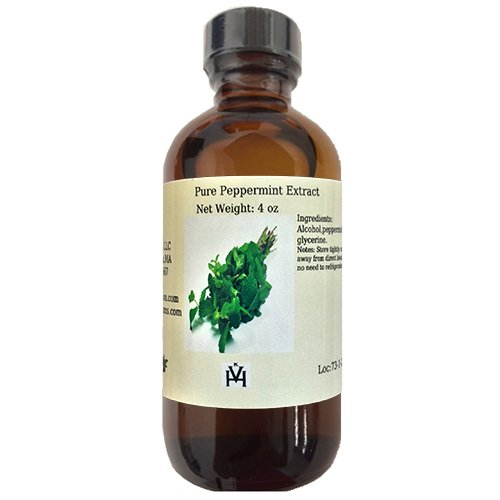 OliveNation Pure Peppermint Extract for Baking, Beverages, Fillings, Frosting, Water Soluble, Non-GMO, Gluten Free, Kosher, Vegan - 4 ounces