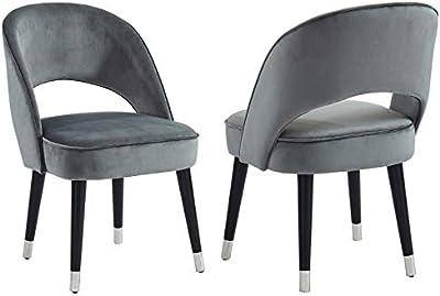Sarkis Set of 2 Modern Velvet & Metal Side Chair in Grey